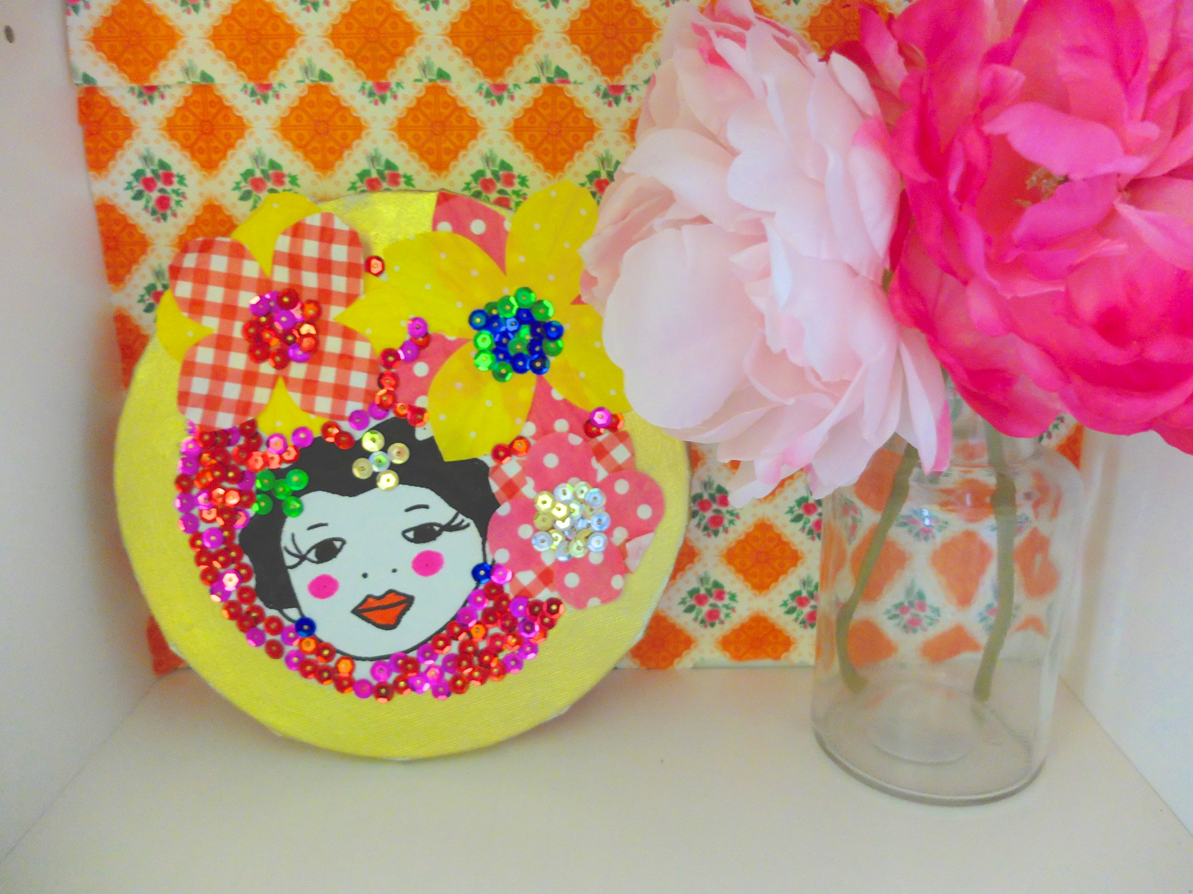 Le tableau frida en sequins diy for Tableau en sequin